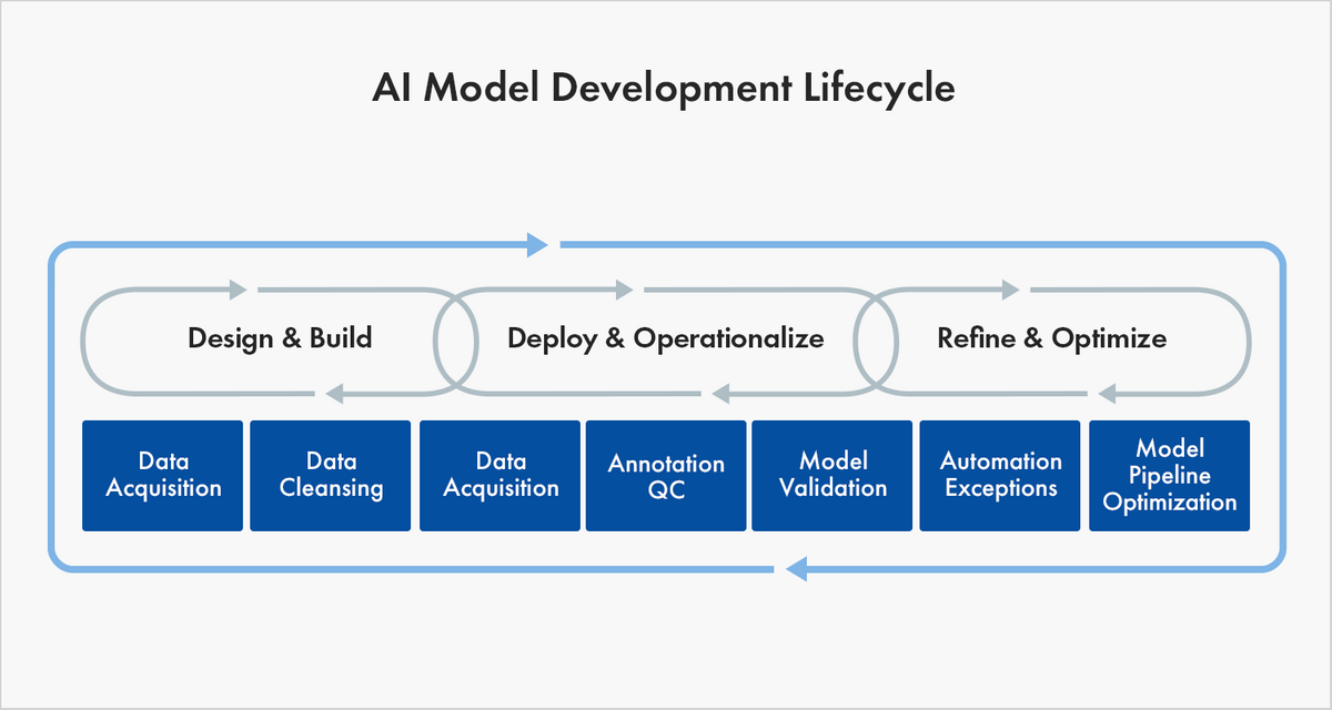 AI model development lifecycle for training data and machine learning