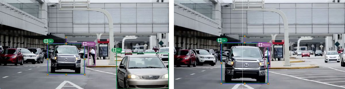 """This is an example of image annotation for computer vision using tracking. There are two images of the same street scene. The incremental movement of two of the vehicles indicates that the images were captured seconds apart, one after the other. Both images show a truck, annotated with a bounding box and a label marked """"truck."""" The image on the right is the same scene as the first, except the truck is shown further to the right, indicating that the truck has moved from the position shown in the earlier image."""