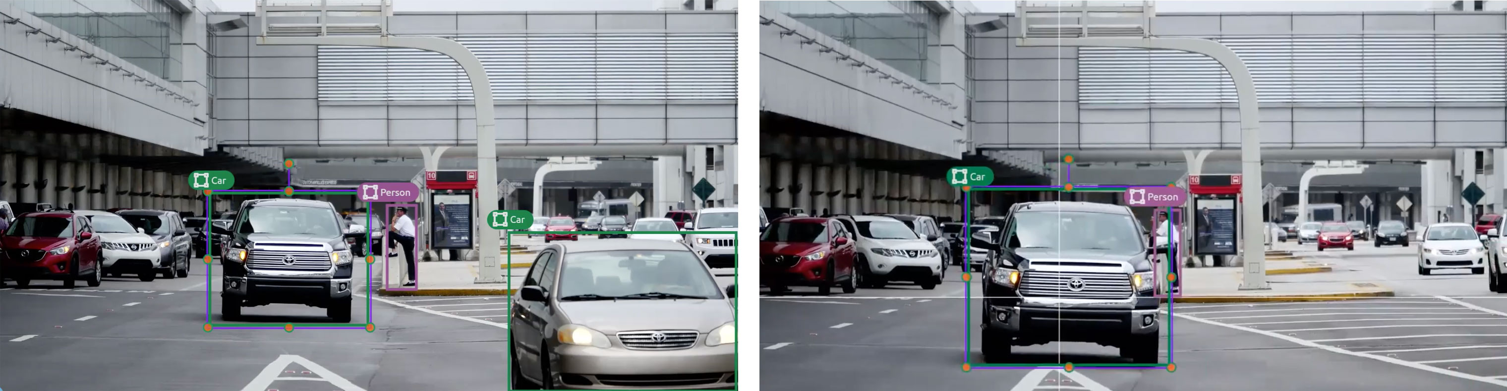 "This is an example of image annotation for computer vision using tracking. There are two images of the same street scene. The incremental movement of two of the vehicles indicates that the images were captured seconds apart, one after the other. Both images show a truck, annotated with a bounding box and a label marked ""truck."" The image on the right is the same scene as the first, except the truck is shown further to the right, indicating that the truck has moved from the position shown in the earlier image."
