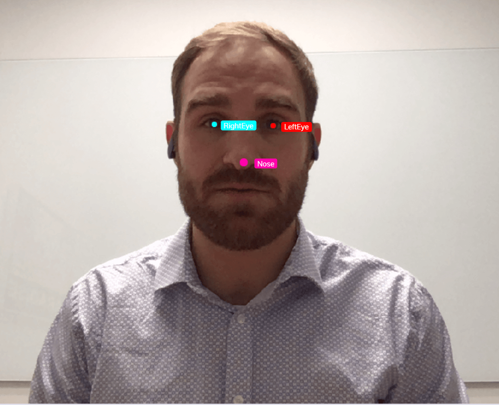 This is an example of image annotation using landmarking. A man is pictured from the shoulders up. The eyes and nose are the features of interest. Each of his eyes is marked with a single dot and with the labels 'left eye' and 'right eye.' His nose is marked with a single dot and labeled with the word, 'nose.'