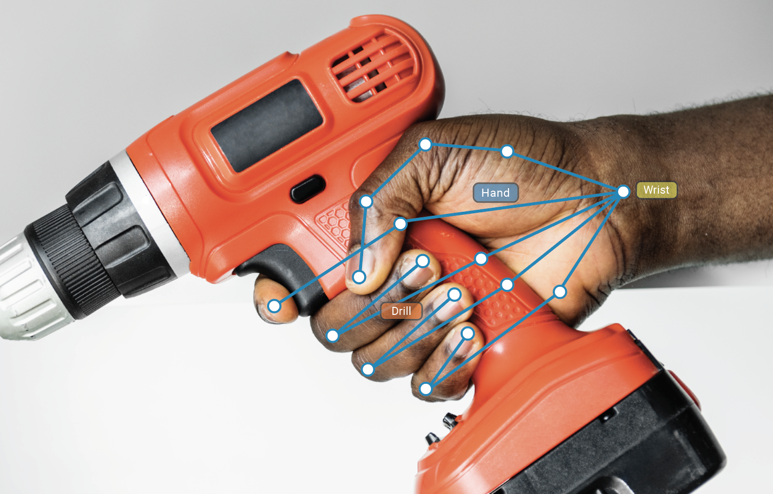 A company was using computer vision to build analytics solutions and needed to acquire a dataset of objects being held by human hands. The image shows a person's right hand holding a cordless drilling tool. The hand and each finger are annotated to indicate where the hand is grasping the tool.